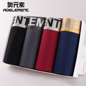 Aoelement Celana Dalam Boxer Pria Breathable Panties 4 PCS Size L - A103 - Multi-Color