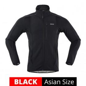ARSUXEO Jaket Olahraga Sepeda Warm Up Thermal Fleece Cycling Jacket Size XL - 15K - Black