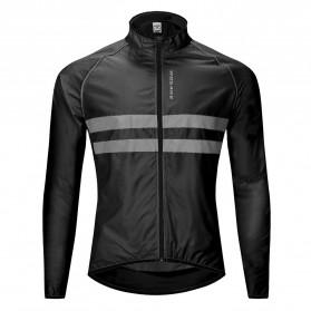 WOSAWE Jaket Olahraga Sepeda Cycling Jacket Windproof Waterproof Size M - BL215 - Black