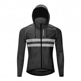 WOSAWE Jaket Olahraga Sepeda Cycling Jacket Windproof Waterproof Size M - BL225 - Black