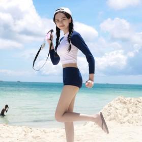 Second Set Pakaian Renang Wanita Swimsuit Long Sleeve High Waist Size M - 1719 - White/Blue