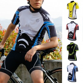Wheel Up Racing Suit Baju Pakaian Olahraga Pria Short Sleeve Men Size XL - LX1901 - Blue - 2