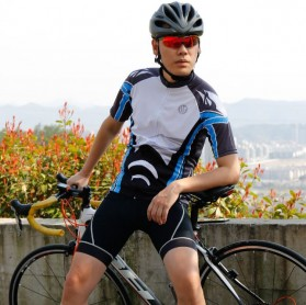 Wheel Up Racing Suit Baju Pakaian Olahraga Pria Short Sleeve Men Size XL - LX1901 - Blue - 8