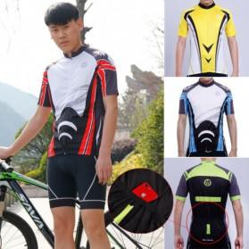 Wheel Up Racing Suit Baju Pakaian Olahraga Pria Short Sleeve Men Size L - CC1604 - Blue - 3