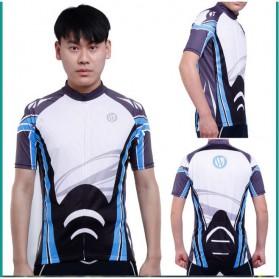 Wheel Up Racing Suit Baju Pakaian Olahraga Pria Short Sleeve Men Size L - CC1604 - Blue - 5