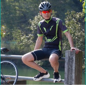 Wheel Up Racing Suit Baju Pakaian Olahraga Pria Short Sleeve Men Size L - CC1604 - Blue - 6