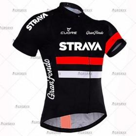 STRAVA Baju Pakaian Olahraga Sepeda Pria MTB Cycling Jersey Short Sleeve Men Size XXL - CM-DY-256 - Black