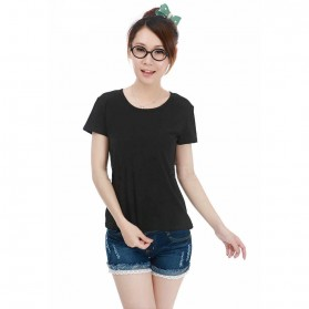 Kaos Polos Katun Wanita O Neck Size S - 86101 / T-Shirt - Black