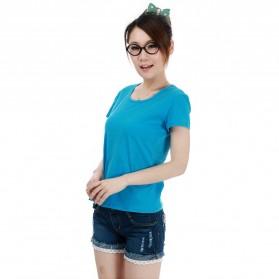 Kaos Polos Katun Wanita O Neck Size S - 86101 / T-Shirt - Blue