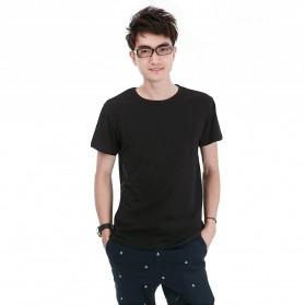 Kaos Polos Katun Pria O Neck Size M - 86102 / T-Shirt - Black - 1