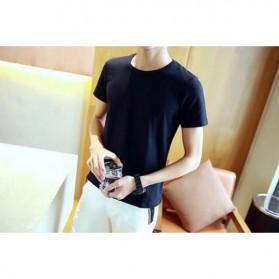 Kaos Polos Katun Pria O Neck Size M - 86102 / T-Shirt - Black - 2
