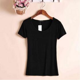 Kaos Polos Katun Pria O Neck Size M - 86102 / T-Shirt - Black - 3