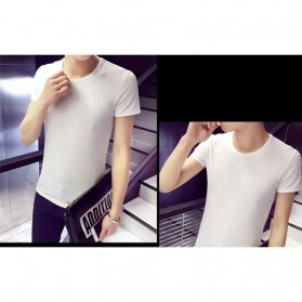 Kaos Polos Katun Pria O Neck Size M - 86102 / T-Shirt - White - 3