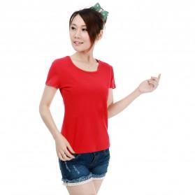 Kaos Polos Katun Wanita O Neck Size L - 86101 / T-Shirt - Red
