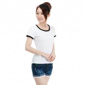 Kaos Polos Katun Wanita O Neck Size L - 86201 / T-Shirt - Black