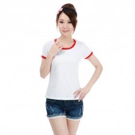 Kaos Polos Katun Wanita O Neck Size L - 86201 / T-Shirt - Red
