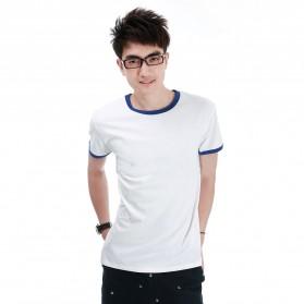 Kaos Polos Katun Pria O Neck Size M - 86202 / T-Shirt - Blue - 1