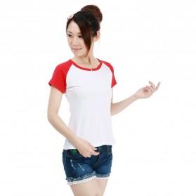 Kaos Polos Katun Wanita O Neck Size S - 86205 / T-Shirt - Red