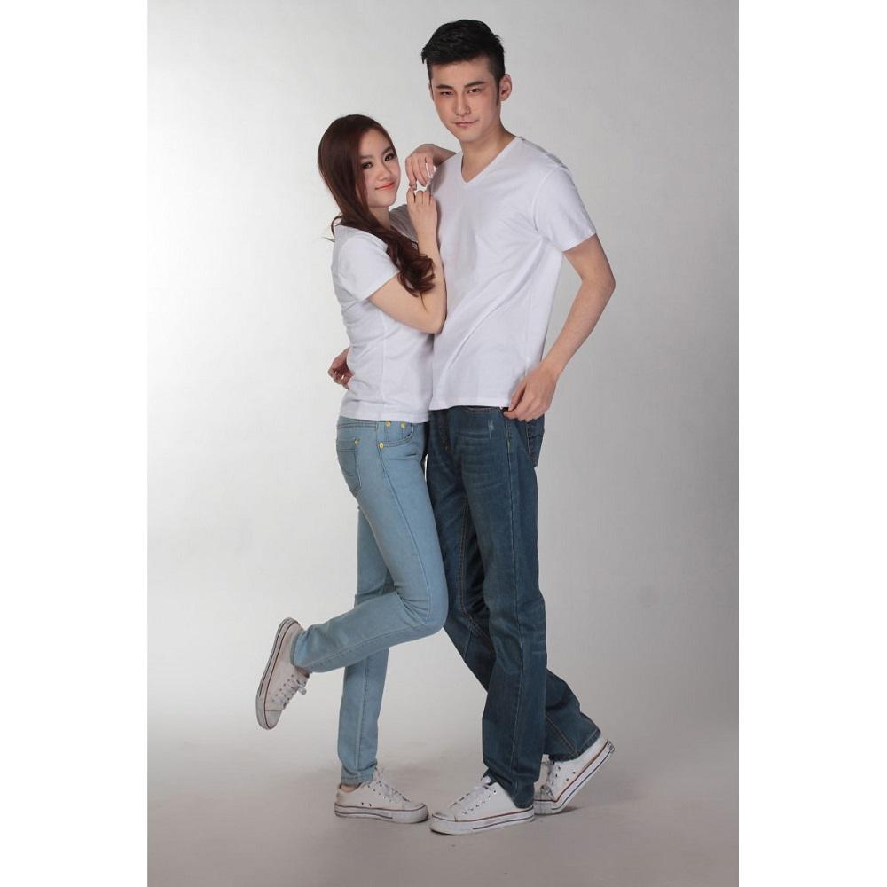Kaos Polos Katun Wanita V Neck Size S 81105 T Shirt White Pria Kartun
