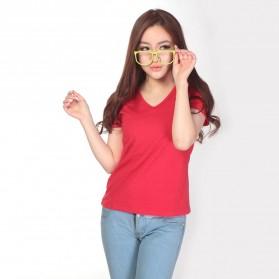 Kaos Polos Katun Wanita V Neck Size L - 81105 / T-Shirt - Red
