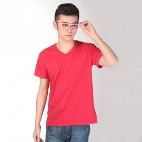 Kaos Polos Katun Pria V Neck Size XL - 81106 / T-Shirt - Red