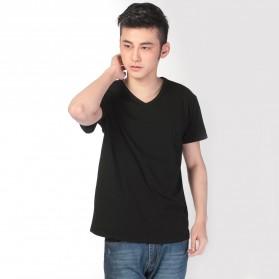 Kaos Polos Katun Pria V Neck Size L - 81106 / T-Shirt - Black