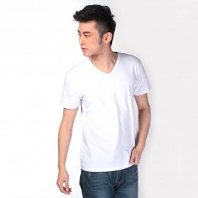 Kaos Polos Katun Pria V Neck Size L - 81106 / T-Shirt - White