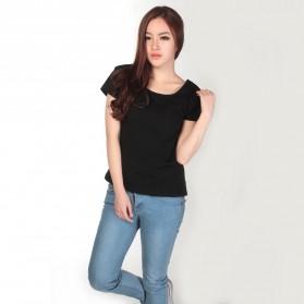 Kaos Polos Katun Wanita U Neck Size M - 81301 / T-Shirt - Black