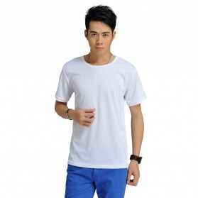 Pakaian Pria Terbaru Keren - Baju Olahraga Mesh Pria O Neck Size M - 85301 / T-Shirt - White