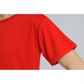 Baju Olahraga Mesh Pria O Neck Size M - 85301 / T-Shirt - Red - 7