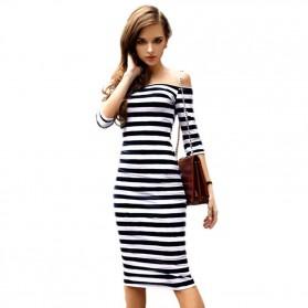 Sexy Bodyfit Dress Wanita Slim Dress Size L - Black White