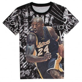 Kaos Katun Pria Kobe Bryant Lengan Pendek O Neck Size M / T-Shirt - Black