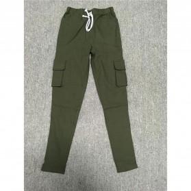 Celana Panjang Casual Wanita Polyester Size S - Green - 3