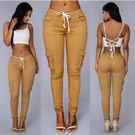 Pakaian Wanita Terbaru - Celana Panjang Casual Wanita Polyester Size L - Cream