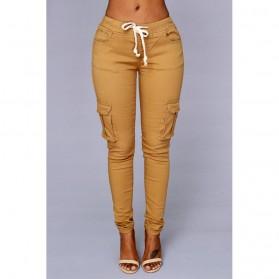Celana Panjang Casual Wanita Polyester Size L - Cream - 2