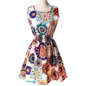 Dress Wanita Motif Bunga Bohemian Size M - White