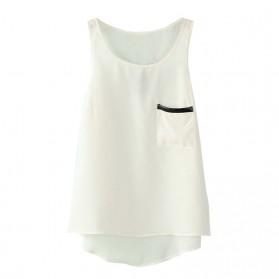 Tank Top U Can See Wanita Asymmetric Round Neck T-Shirt Size S - White