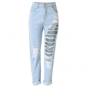 Celana Jeans Wanita Holes Denim Trousers Size M - Blue - 1