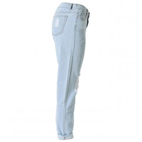 Celana Jeans Wanita Holes Denim Trousers Size L - Blue - 2