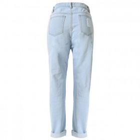 Celana Jeans Wanita Holes Denim Trousers Size L - Blue - 3