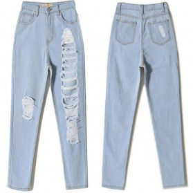 Celana Jeans Wanita Holes Denim Trousers Size L - Blue - 4