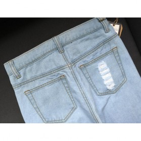 Celana Jeans Wanita Holes Denim Trousers Size L - Blue - 8