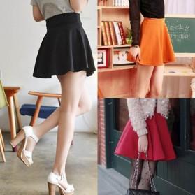 Rok Mini Wanita High Waist Skirt All Size - Black - 3