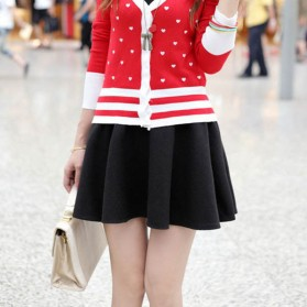 Rok Mini Wanita High Waist Skirt All Size - Black - 4