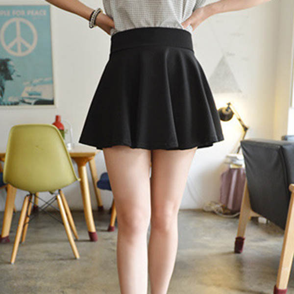 rok mini wanita high waist skirt all size   black