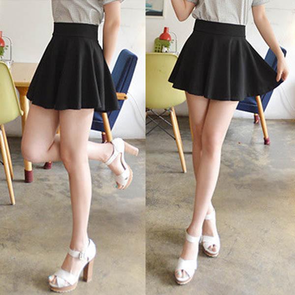 Rok Mini Wanita High Waist Skirt All Size - Black