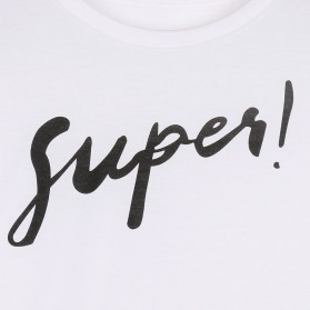 Kaos Katun Wanita Super Logo Short Sleeve O Neck Size M / T-Shirt - Black - 5