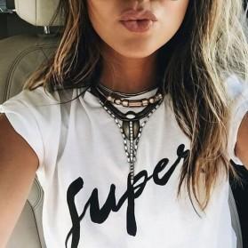 Kaos Katun Wanita Super Logo Short Sleeve O Neck Size M / T-Shirt - Black - 6