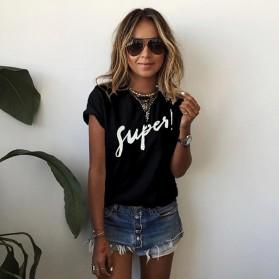 Kaos Katun Wanita Super Logo Short Sleeve O Neck Size S / T-Shirt - Black