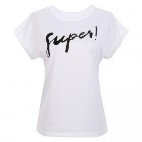 Kaos Katun Wanita Super Logo Short Sleeve O Neck Size L / T-Shirt - White - 3